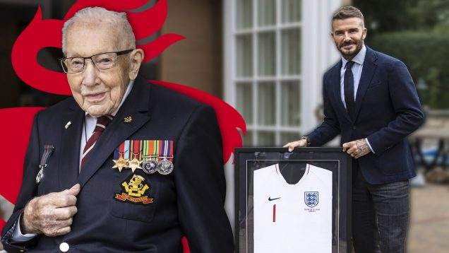 Inspirational Captain Sir Tom Moore visited at home by England