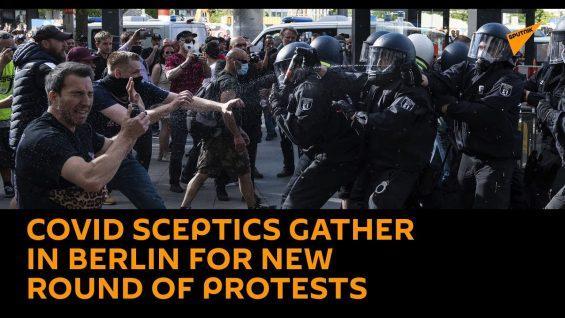 Crowds of People Gather in Berlin in Protest Against Updated Coronavirus Measures