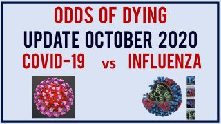 Odds of dying from COVID vs Flu. Update October 2020