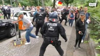 Almost 600 arrested as clashes erupt at banned anti-lockdown protests in Berlin
