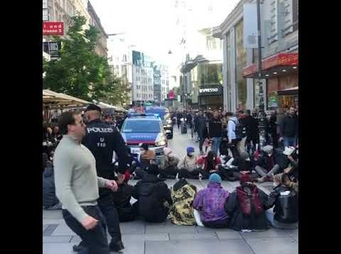 Sit down My Body My Choice protest against vaccine mandates in Austria, Vienna